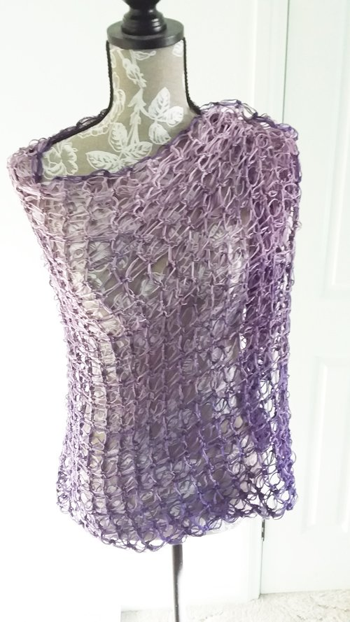 Rectangled in Love Shawl - Full length - on mannequin, draped over left shoulder - from front - available from MadeforYOUbyFi April 2021