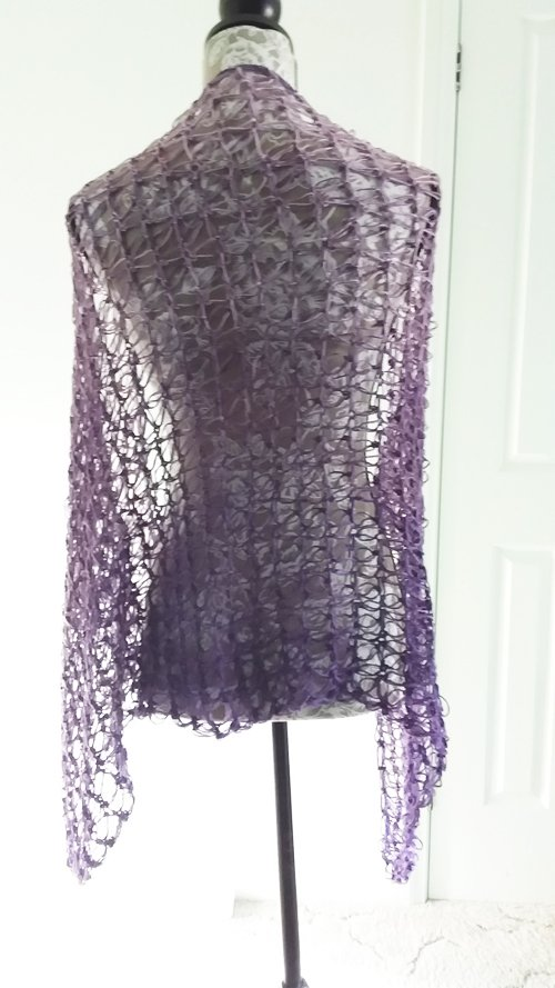 Rectangled in Love Shawl - Full length - on mannequin from back - available from MadeforYOUbyFi April 2021