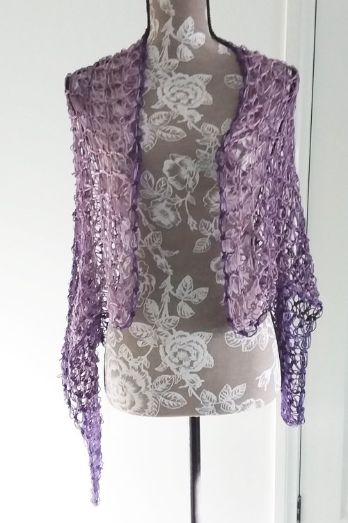 Rectangled in Love Shawl - Full length - on mannequin from front - available from MadeforYOUbyFi April 2021