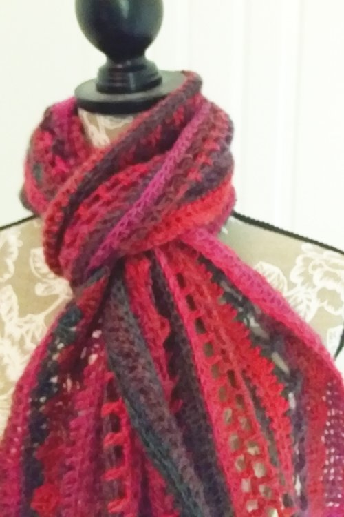 Riotous Wrap - or scarf - in Crush - Styling - Close up of knot at neck - available from MadeforYOUbyFi April 2021