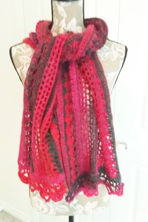 Riotous Wrap - or scarf - in Crush - Styling - Tied at neck ends splayed over chest - available from MadeforYOUbyFi April 2021