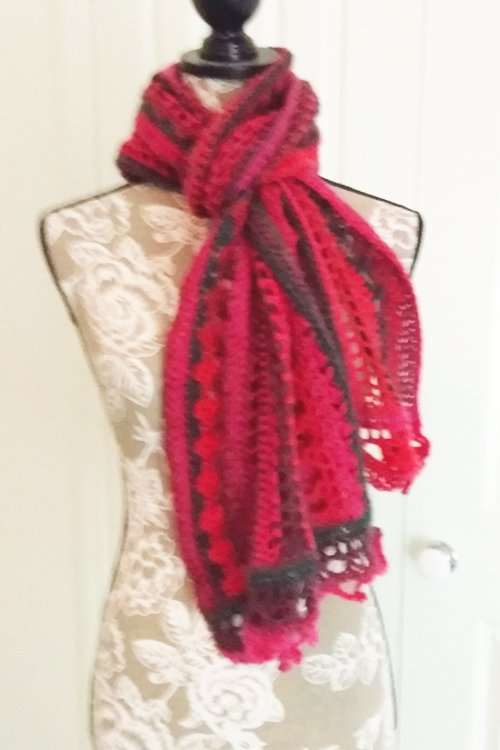 Riotous Wrap - or scarf - in Crush - Styling - Tied at neck for under a coat - available from MadeforYOUbyFi April 2021