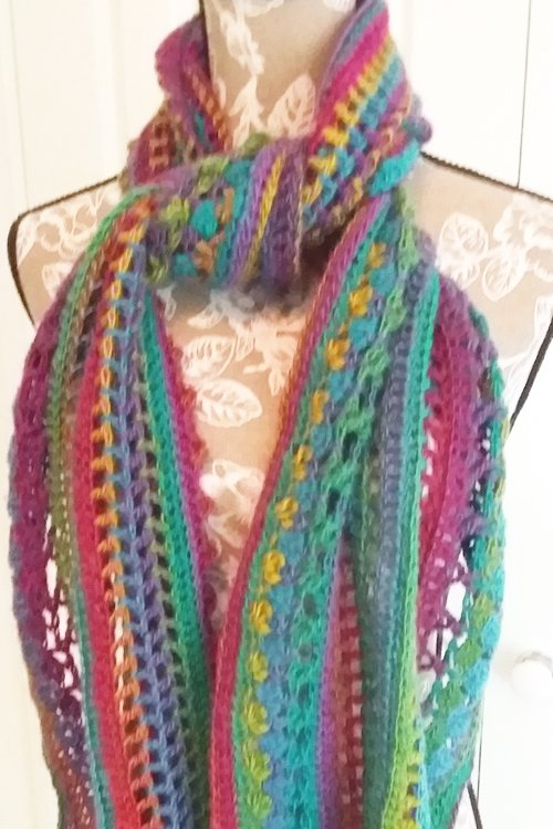 Riotous Wrap - or scarf - in Fab - Styling - Close up of knot at neck - available from MadeforYOUbyFi April 2021