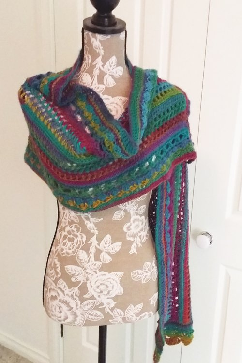 Riotous Wrap - or scarf - in Fab - Styling - Simple drape over left shoulder - available from MadeforYOUbyFi April 2021