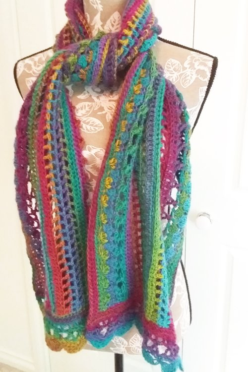 Riotous Wrap - or scarf - in Fab - Styling - Tied at neck for under a coat - available from MadeforYOUbyFi April 2021