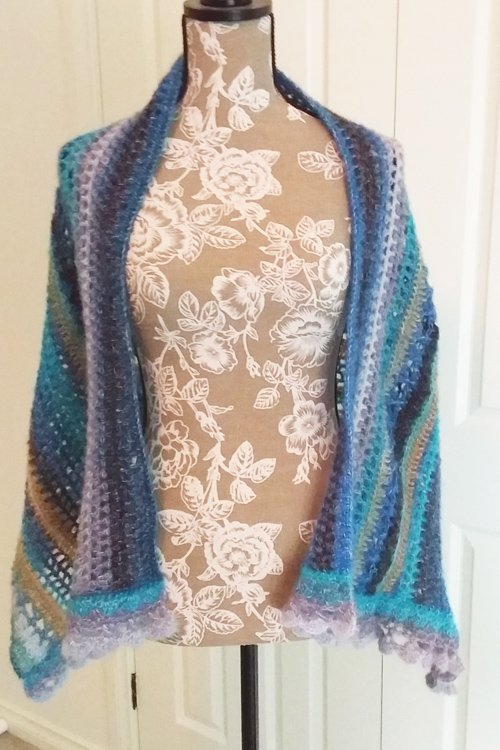 Sandbars in the Tropics Shawl - From front - draped over shoulders - available from MadeforYOUbyFi April 2021