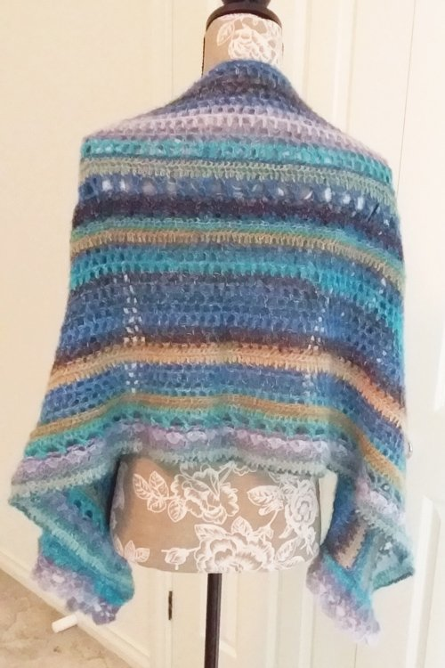Sandbars in the Tropics Shawl - Simple drape around manequin to show length - from back - available from MadeforYOUbyFi April 2021